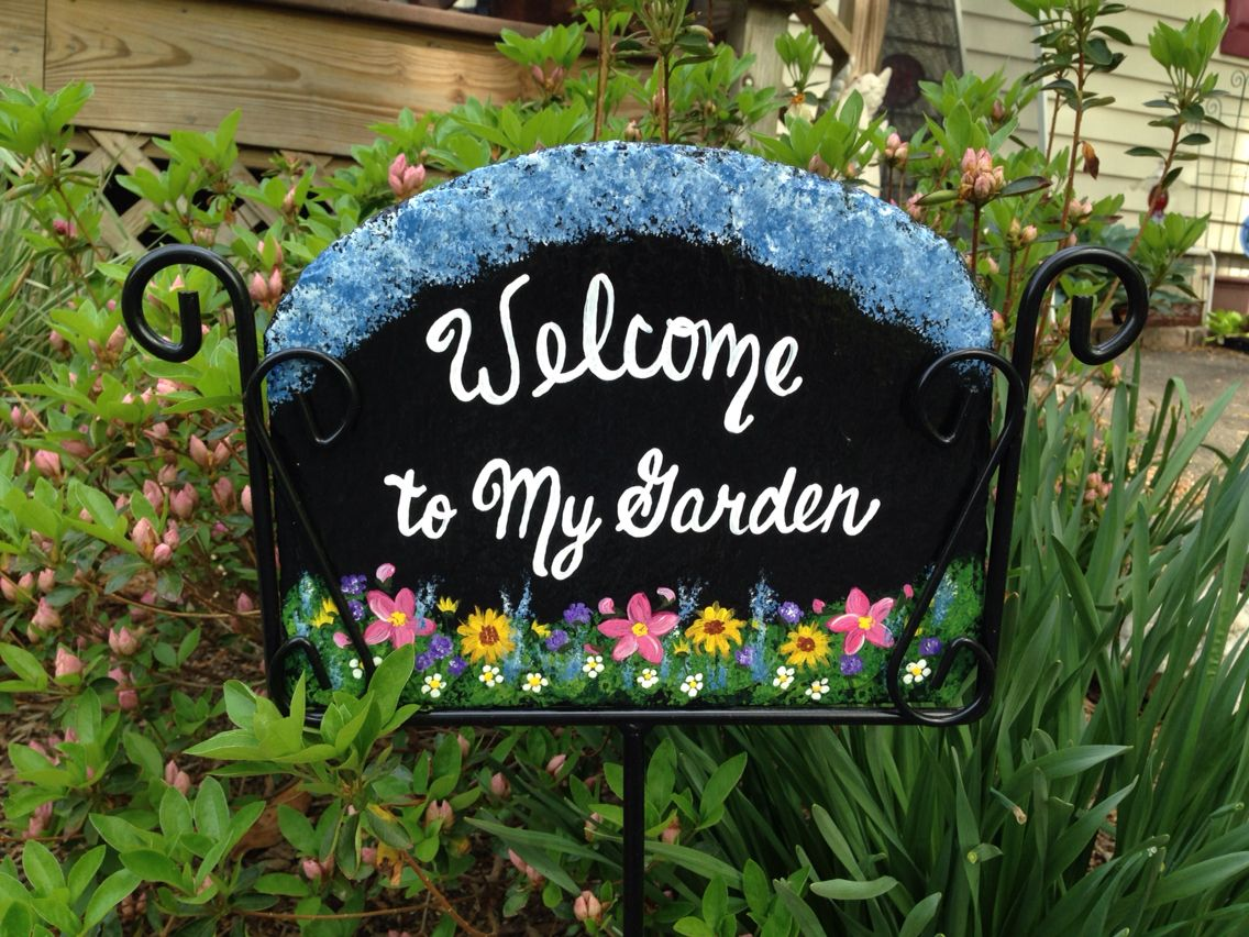 Welcome To My Garden Slate Sign Garden Signs Slate Signs Lawn And Garden