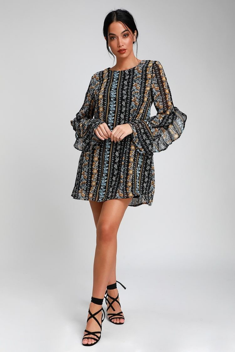 1b69b2459838 Lovely Black Floral Print Dress - Shift Dress - Long Sleeve Dress