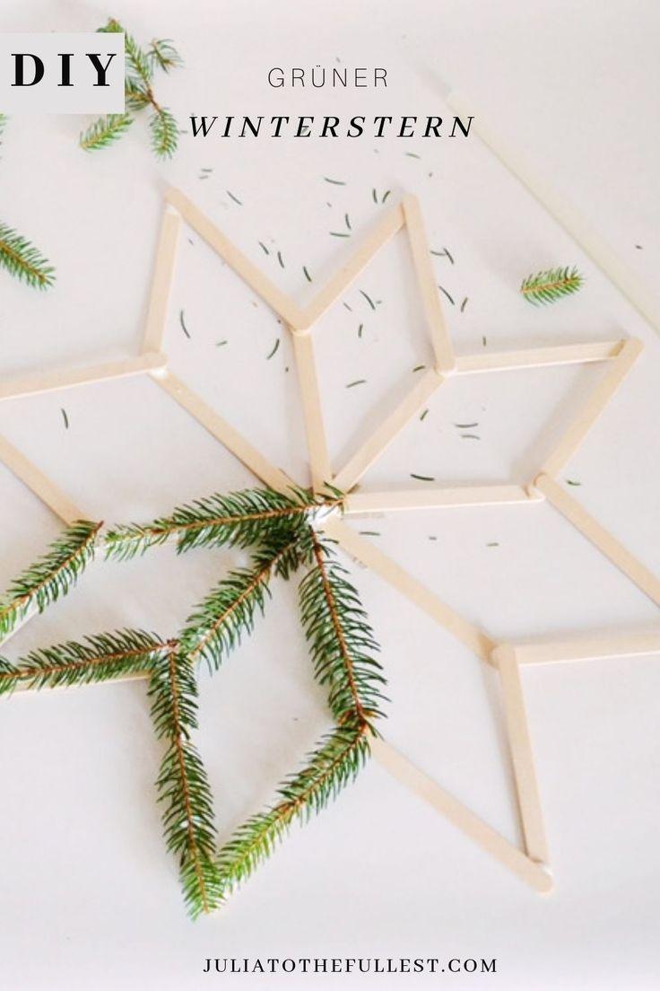 Winterdeko einfach selber basteln. Der DIY grüner Winterstern macht mächtig was her und ist dabei ganz einfach selbstgebastelt. Winterdeko mit Naturmaterialienen sind günstig und schön und einfach zu machen. Los geht's bastle dir deine eigne DIY Weihnachtsdeko bzw. DIY Winterdeko :)