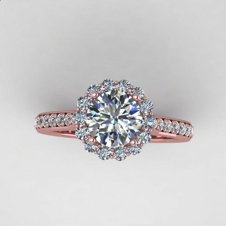 rose diamond wedding rings   rose gold diamond engagement ring ...