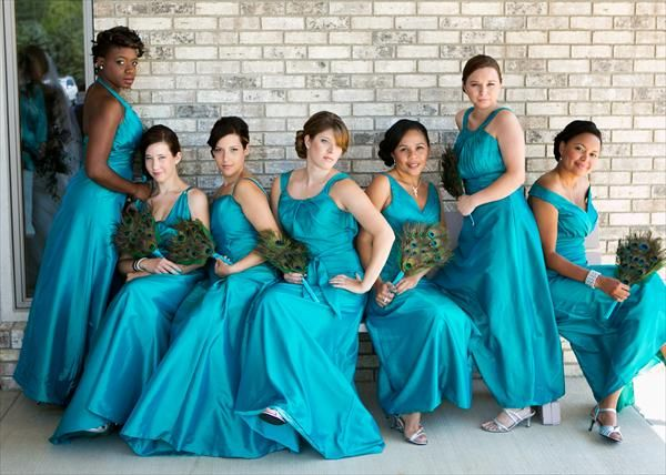 Peacock blue and green bridesmaid dresses
