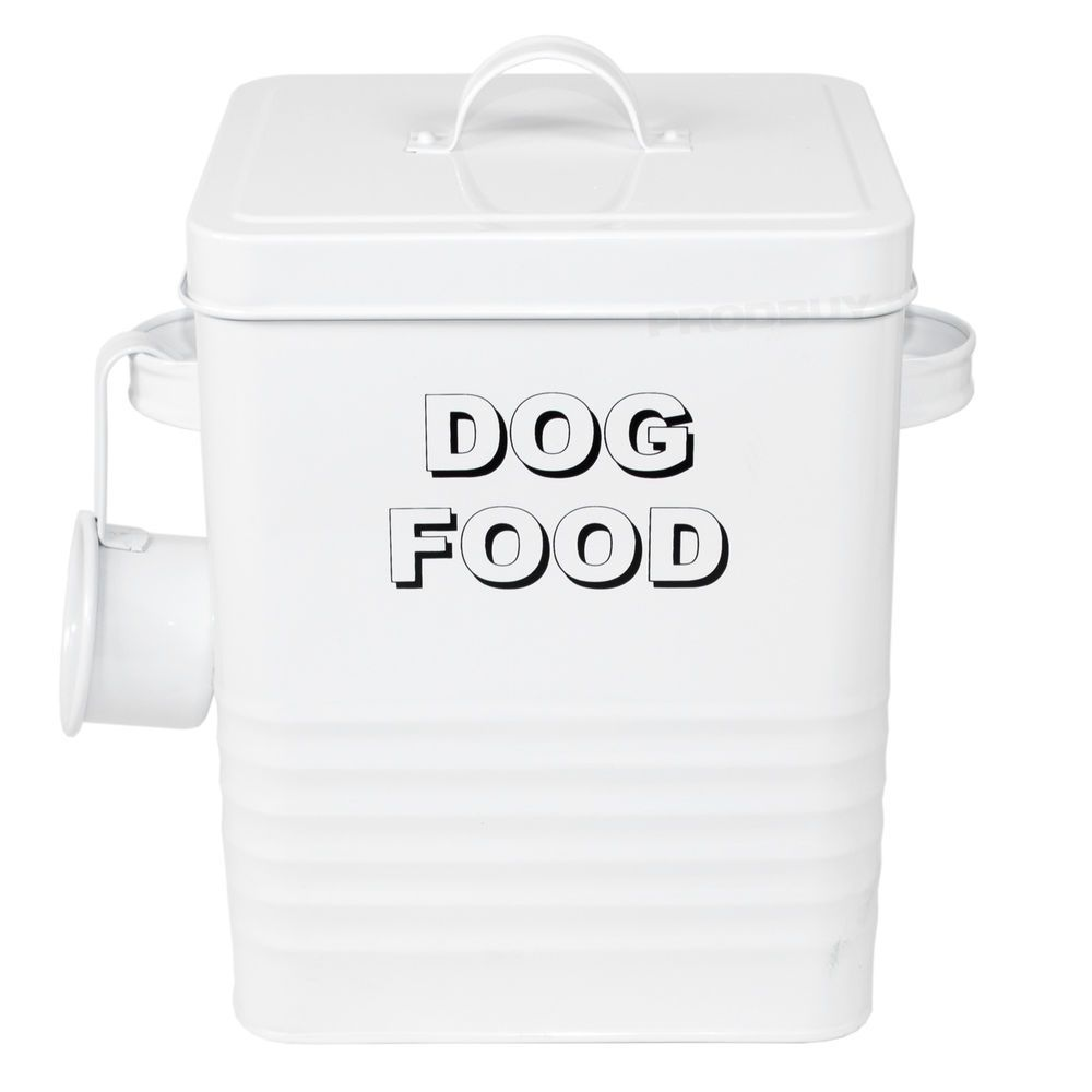 White Dog Food Storage Container Retro Treats Biscuits Tin Bin Lid