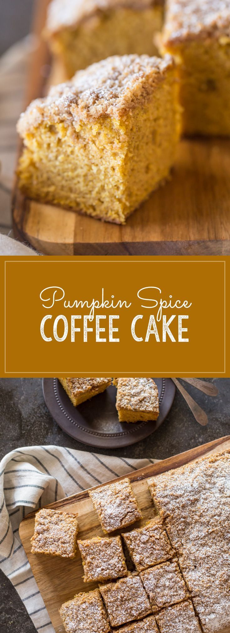 So moist and delicious, this Pumpkin Spice Coffee Cake is