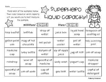 Superheroes Liquid Capacity Metric Milliliters Liters Volume Activities Volume Math Capacity Activities