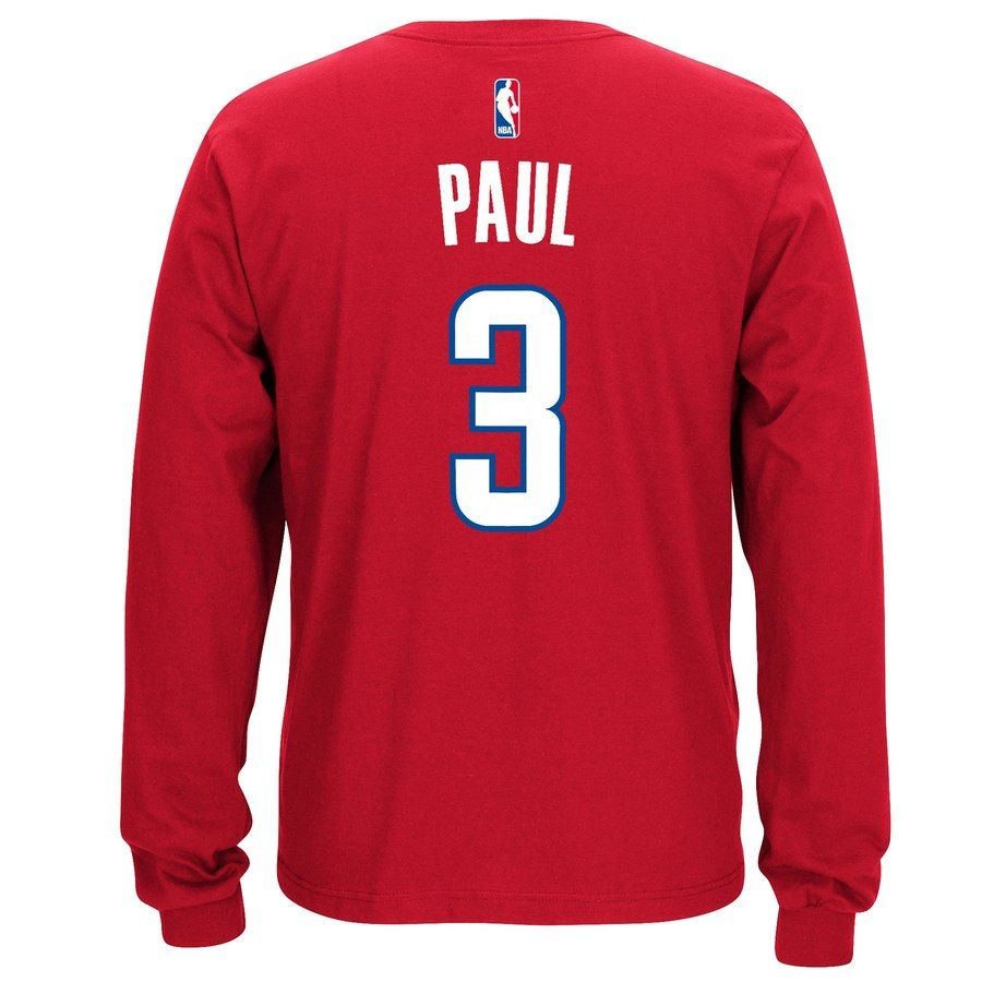 e2398177d95 Men s LA Clippers Chris Paul adidas Red Name   Number Long Sleeve T-Shirt