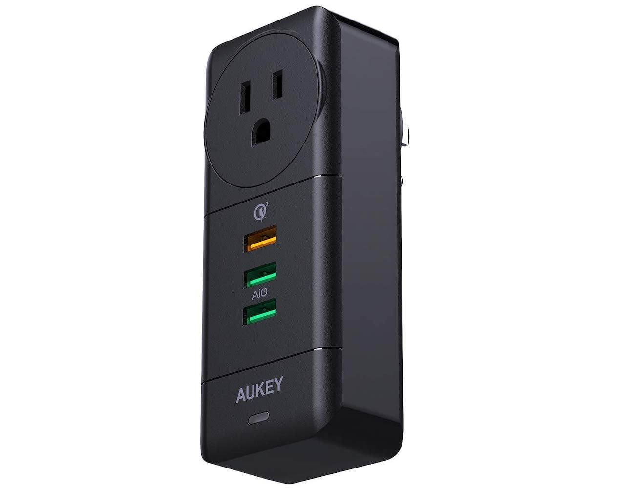 aukey rotatable usb wall outlet charges four devices with on wall outlet id=63853
