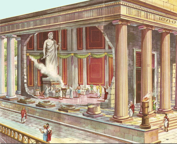 a cross-section of a Roman temple
