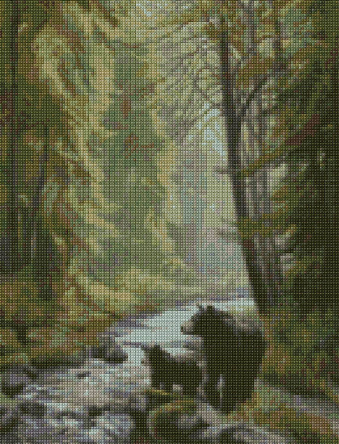 Woodland Forest Bears Cross Stitch pattern PDF - EASY chart with one ...