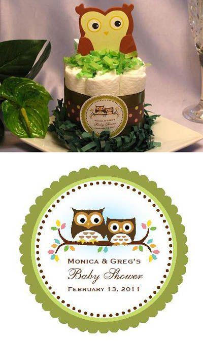 Baby Shower Owl Diaper Cake Centerpiece