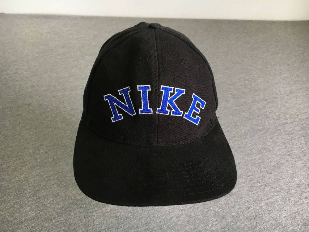 a99cb351 NIKE HAT Snap Back 90's Vintage All Cotton Block Letters Spellout Black  Minty! #Nike