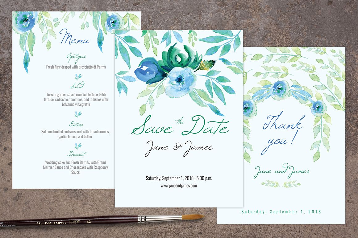 free wedding invitation psd%0A PSD files Blue wedding invitation pack template ready to print  Send your  guests elegant invitations