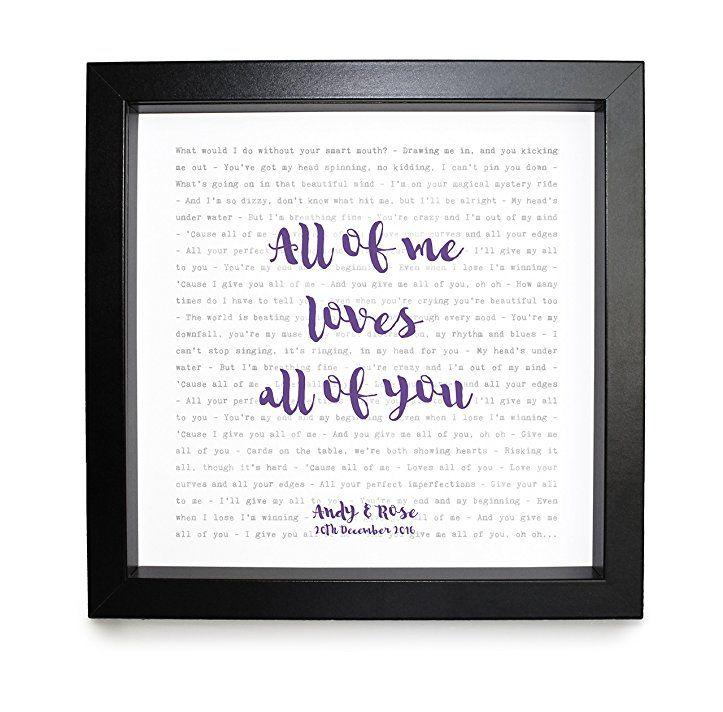 John Legend All Of Me Songtext Gerahmt Personalisierbar Jahrestag Valentinstag Hochzeit Geschenk Perf Jahrestag Geschenk Fur Ihn Geschenke Valentinstag