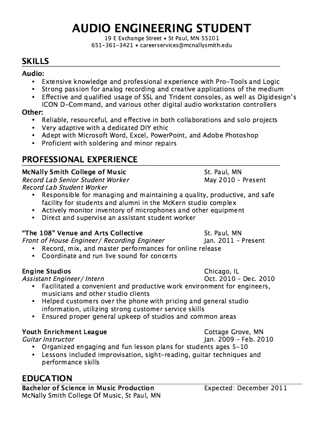 music sample resume