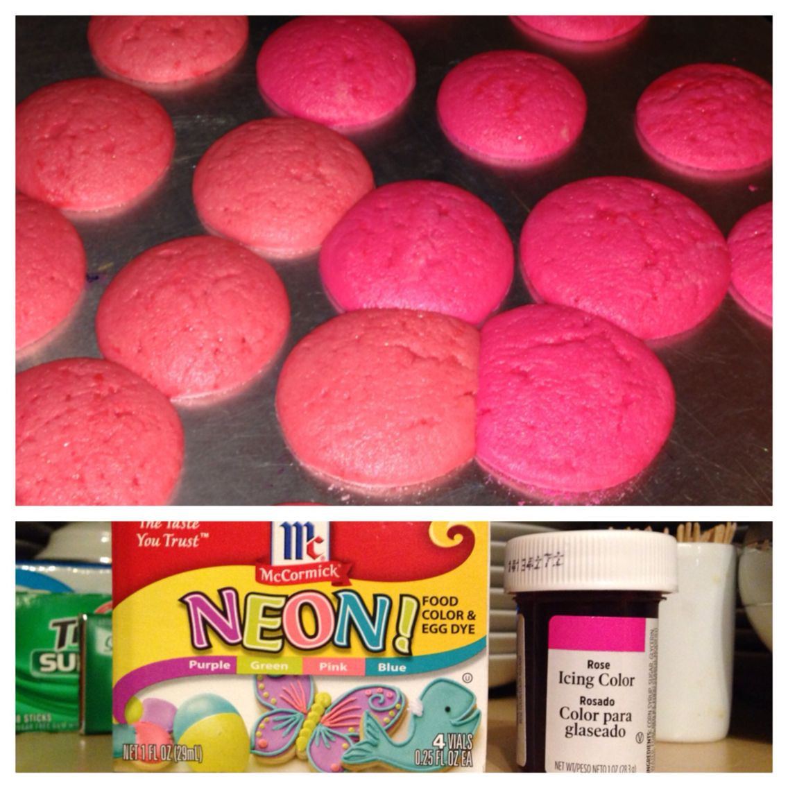 """Baked sugar cookies showing the difference between McCormick """"neon pink"""" (left) and Wilton """"rose"""" (right) food coloring. The Wilton is way better!"""