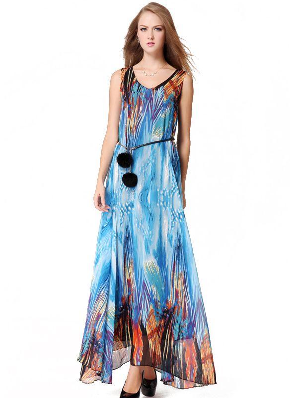 25d34a5973d Elegant Chiffon Round Collar Printing Summer Long Sundresses For Women