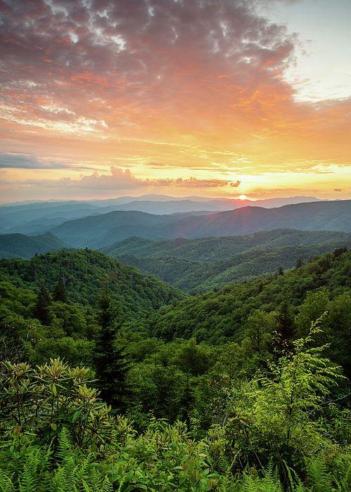Blue Ridge Parkway NC Smoky Mountain Fire by Robert Stephens