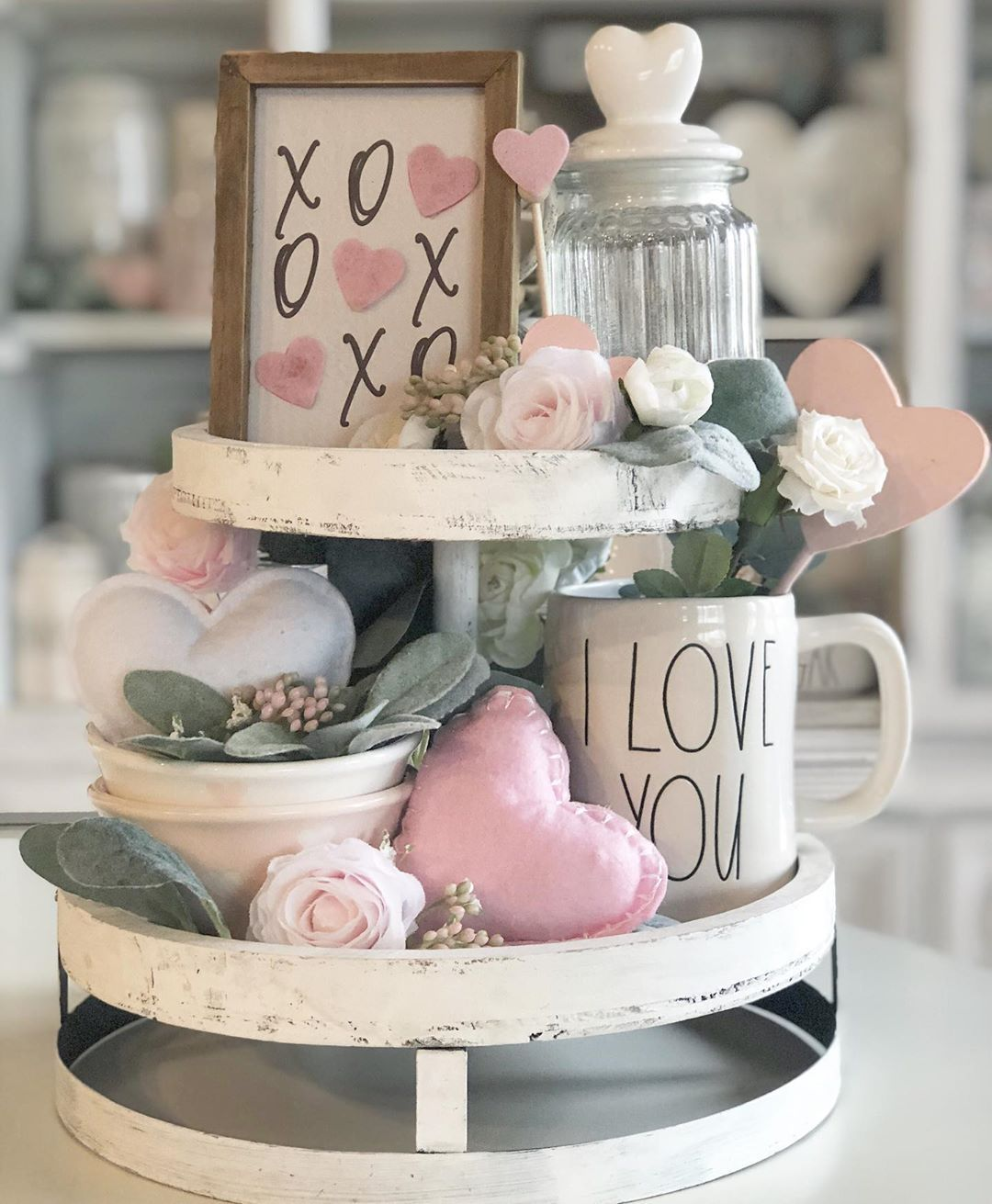 Abby Martinez On Instagram Love You Xoxo Tiertraydecor Tiertray Tiertrays Rae Diy Valentines Decorations Tiered Tray Decor Farmhouse Valentine Decor