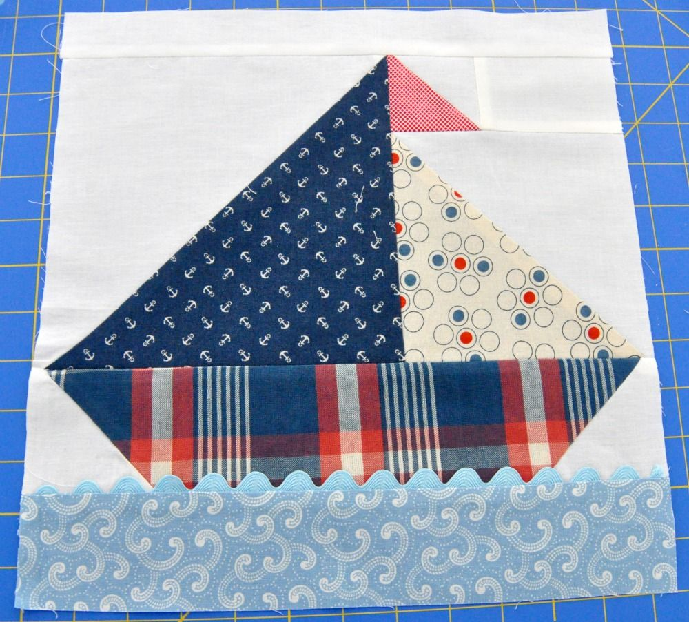 The First Block For The Sailboat Quilt Nautical Quilt