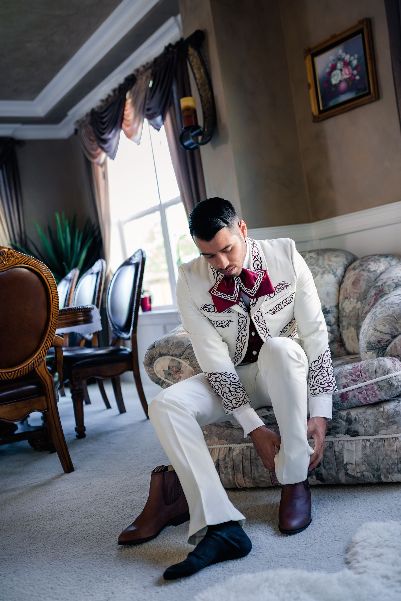 Groom Almost Ready Weddingparty Wedding Charro Suit Mens White Burgundy Pattern Design Traditional Mexican