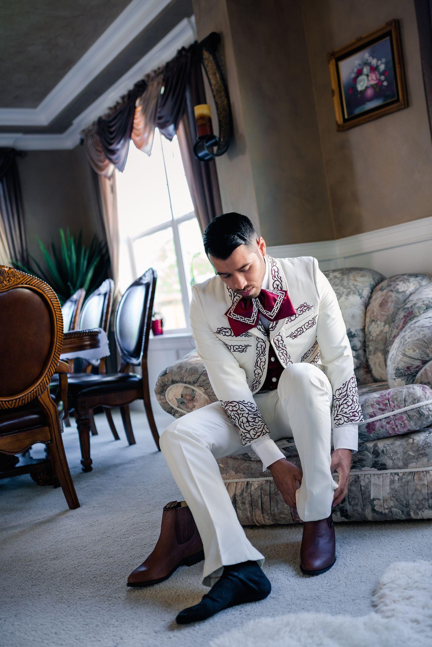 Groom almost ready #weddingparty #wedding #groom #charro #suit ...