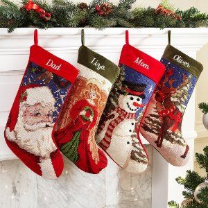 Personalized Vintage Handcrafted Needlepoint Stockings Christmas Stockings