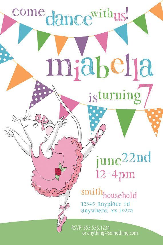 Angelina Ballerina Theme Birthday Invitation DIY Printable – Angelina Ballerina Birthday Invitations