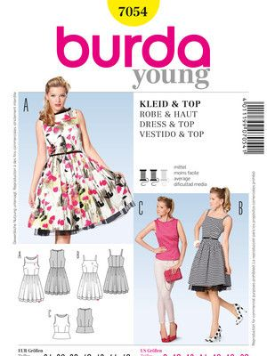 Schnittmuster: Retro-Kleid / Top - Damen - burda style | sewing ...