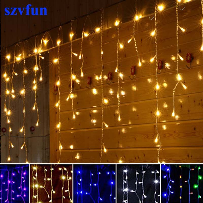 Szvfun christmas lights outdoor led curtain icicle string lights like and share if you want this szvfun christmas lights outdoor led curtain icicle string lights 220v flasher 45m garland light wedding decorations for mozeypictures Choice Image