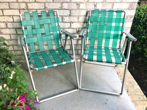 Vintage Pair of Aluminum Lawn Chairs | Aluminum Folding Lawn ...