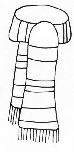 Scarf coloring page template