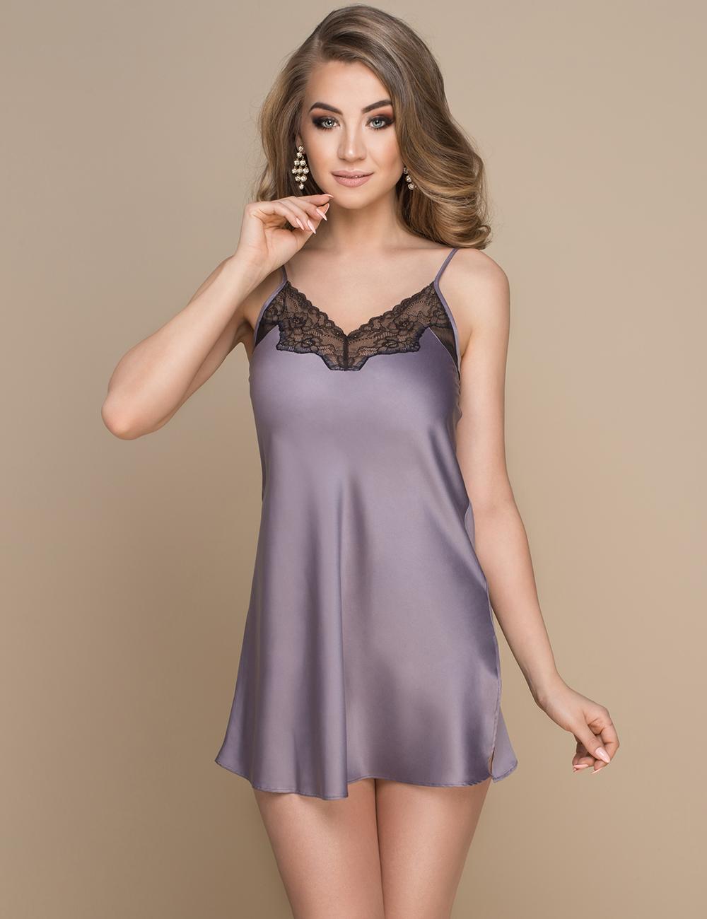 32920611c8d4 Шелковая ночная сорочка в модном пепельно-фиолетовом оттенке Konrad.  Фиолетовое Белье, Атласное Белье