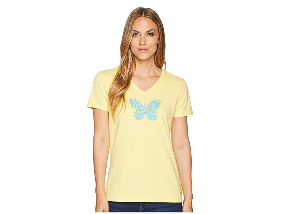 Life is Good Mosaic Butterfly Crusher Vee Tee (Happy Yellow) Women's T Shirt. Enjoy a little fun in sun with the beautiful style of the Life is Good Mosaic Butterfly Crusher Vee Tee! Classic Fit barely skims the body for a flattering silhouette. Breathable cotton is garment washed for that lightly worn  favorite shirt feel. Double-needle stitching increases durability. V-neckline. Short-sleeve coverage. Custom brand artwork at