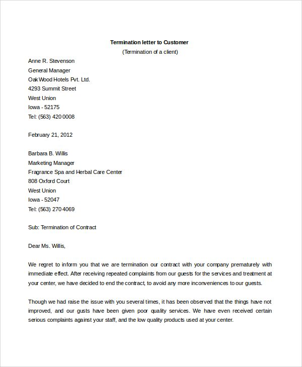Sample Contract Termination Letter Documents Word Service  Home