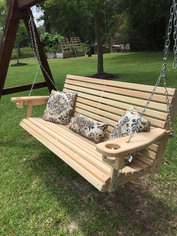 Cypress Porch Swing Hecho A Mano En Luisiana Envio Solo A Estados Unidos Porche Swing W Conjunto De Cade Porch Swing Diy Porch Swing Porch Swing Plans