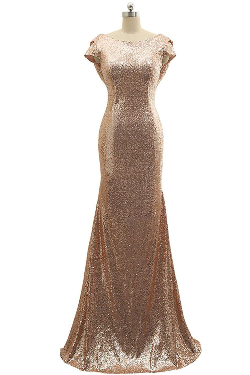 long rose gold sequins bridesmaid dress evening dress am in