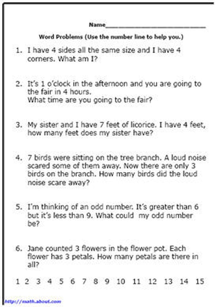 First Grade Math: Printable Word Problem Worksheets | Pinterest ...