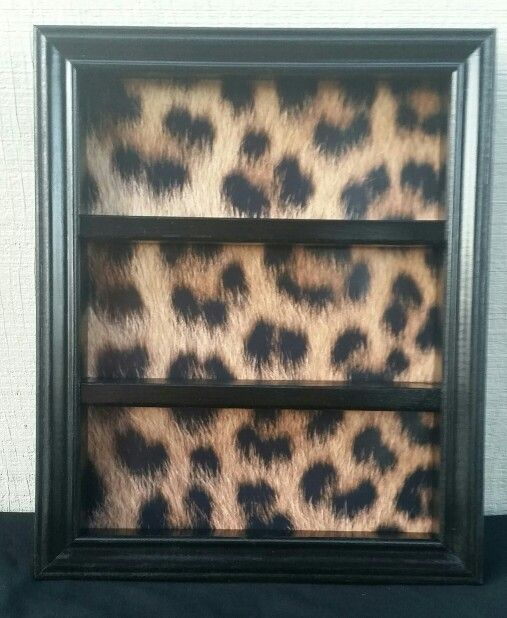 Cheetah nail polish frame/organizer from tyekiki@etsy.com
