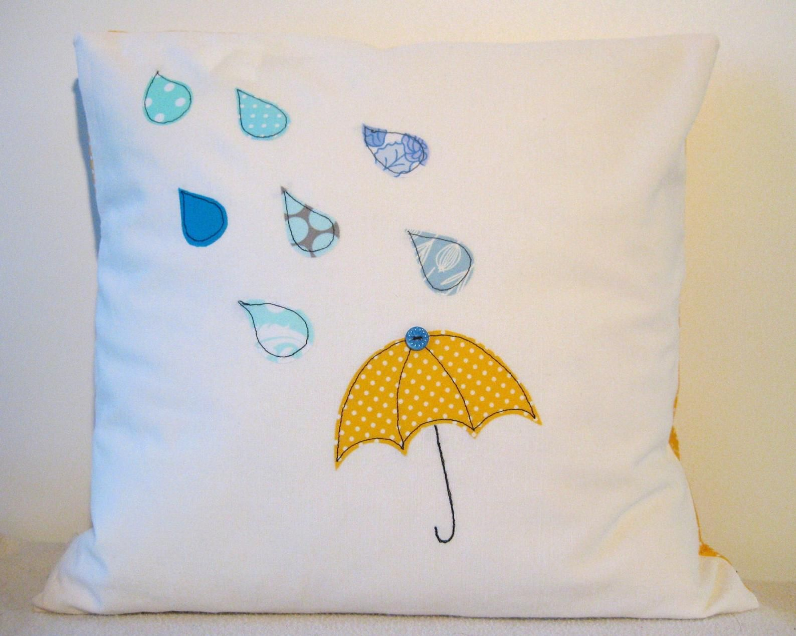 Umbrella And Raindrops Cushion Cover Yellow And Blue
