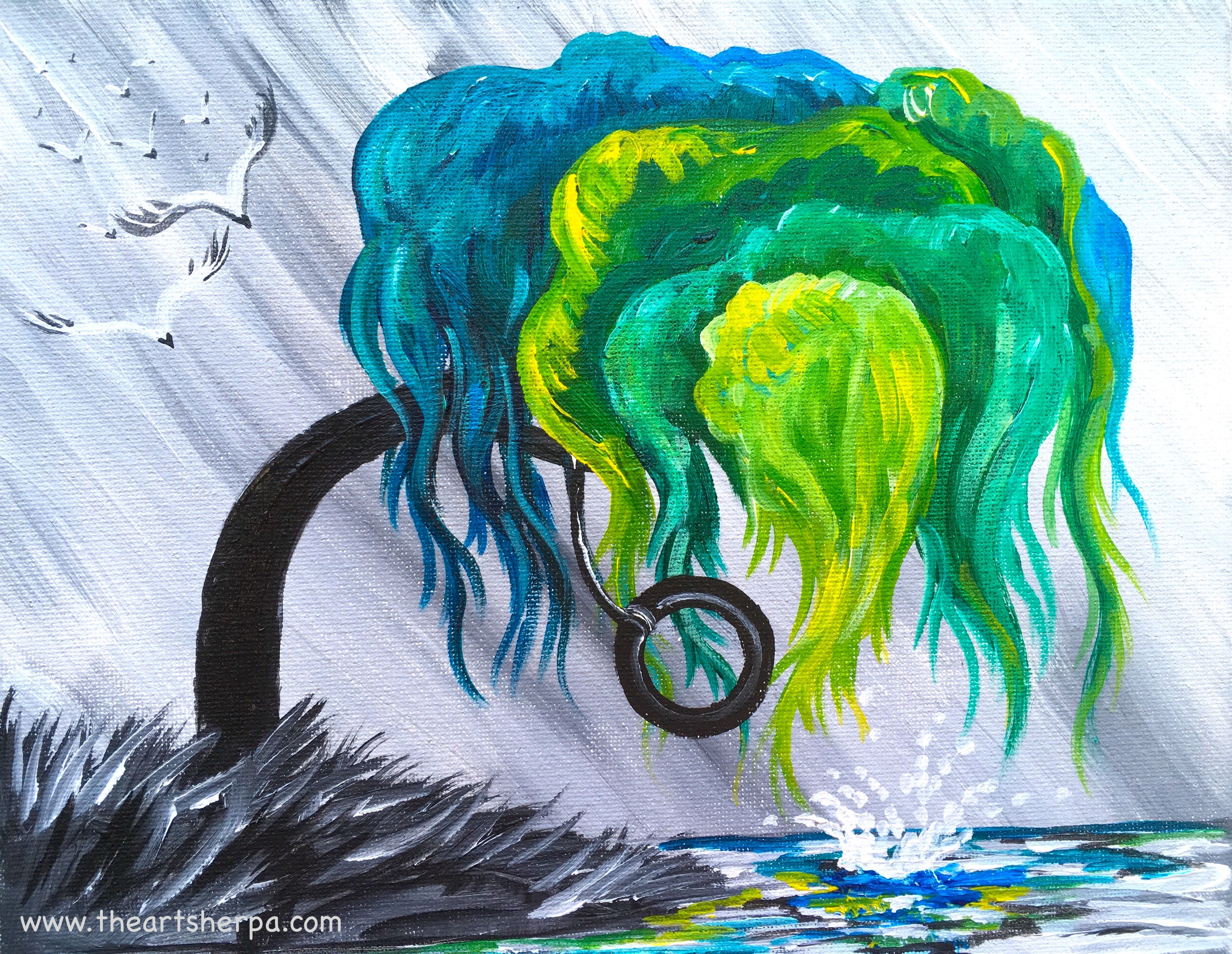 Weeping willow dreaming tree acrylic on canvas step by for How to paint portraits with acrylics for beginners