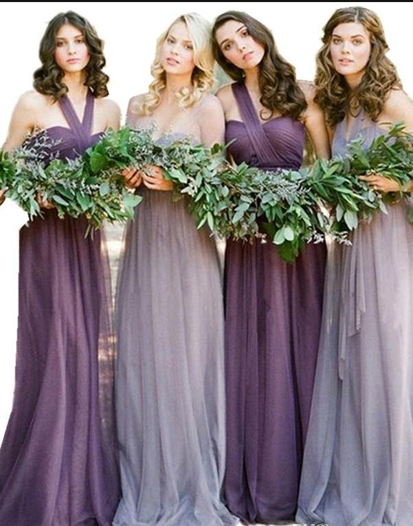 Vintage Blue and Purple Bridesmaid Dresses