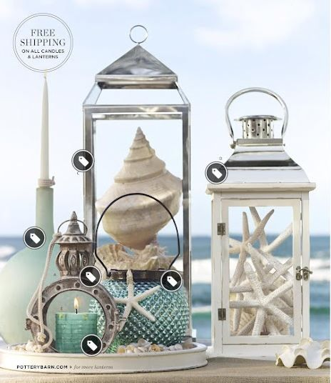 Nautical Decor Centerpieces: Lights, Stars And Mason Jars.