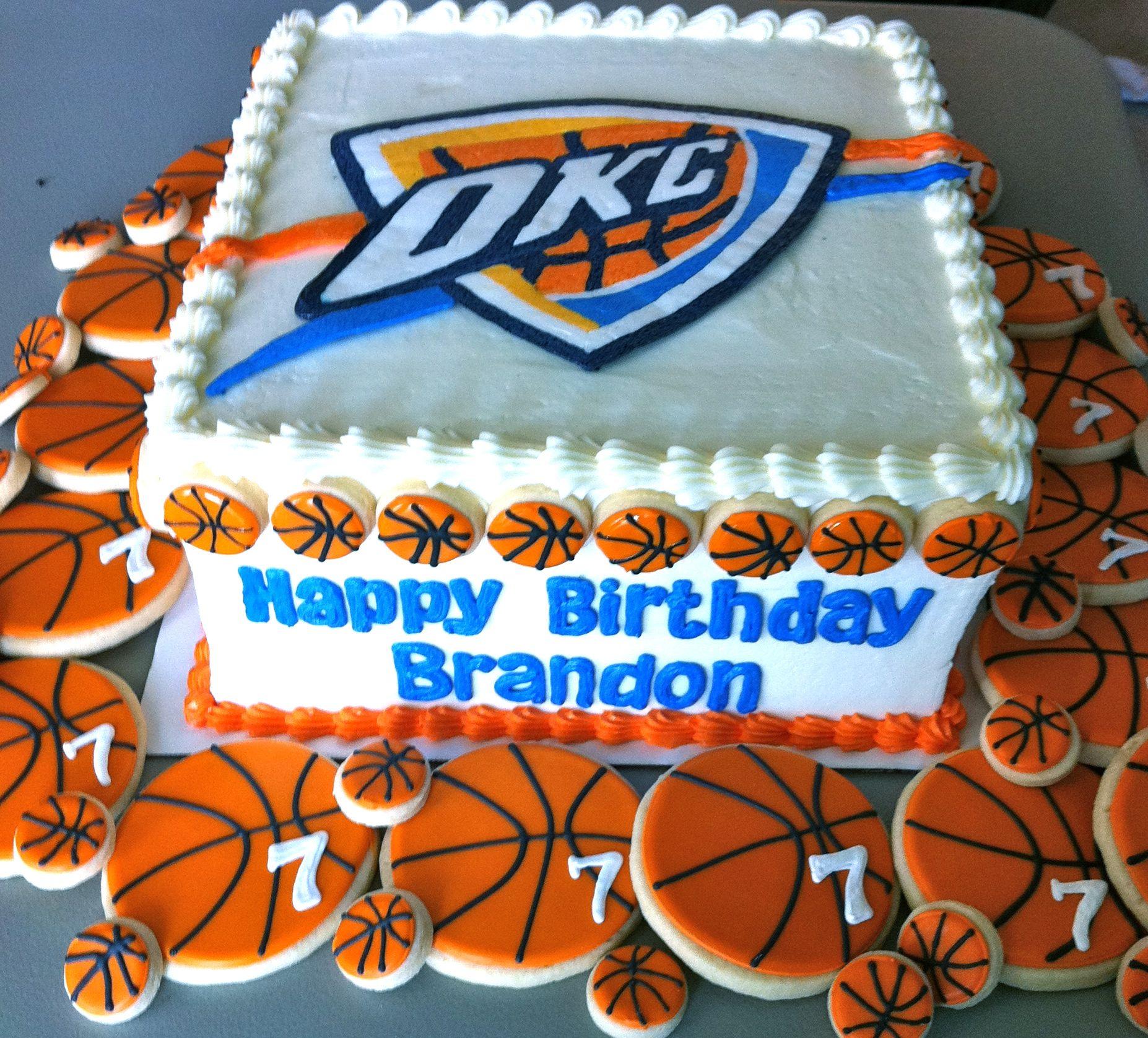 Okc Thunder Bedroom Decor Oklahoma City Thunder Birthday Cake With Matching Cookies My