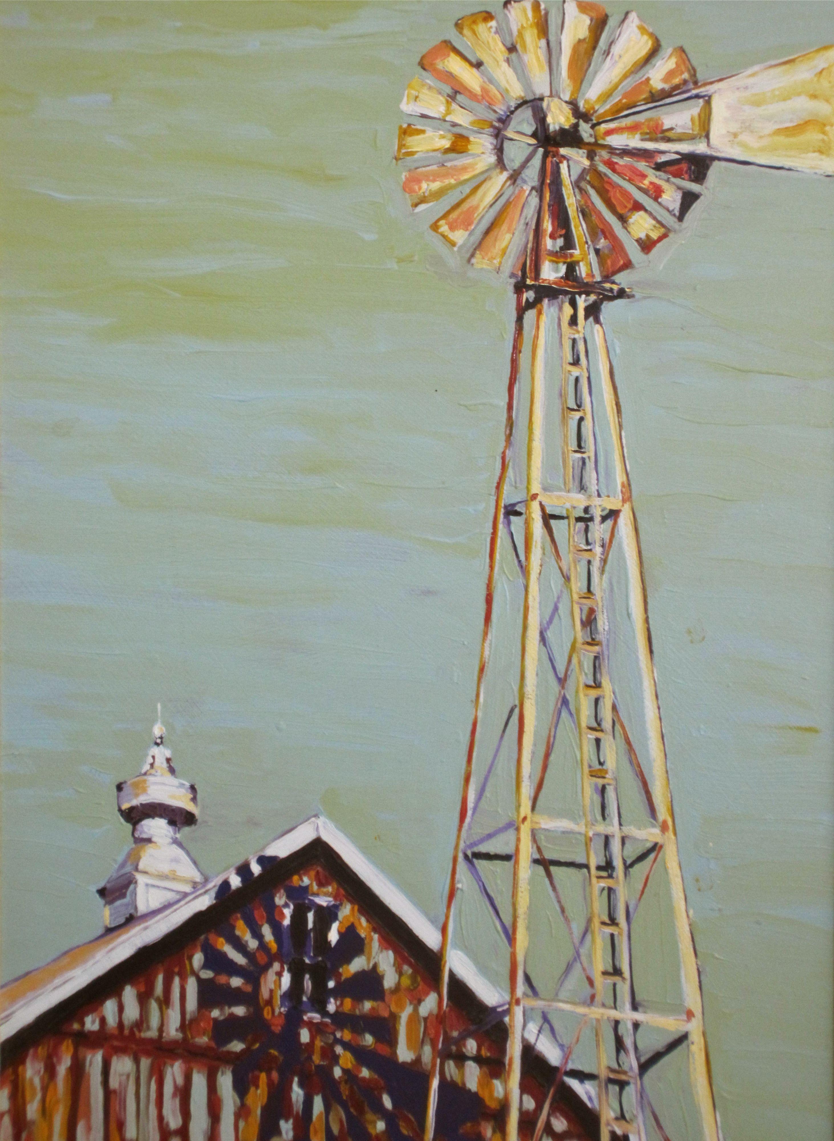 Minnesota Barn and Windmill by Nancy Stark