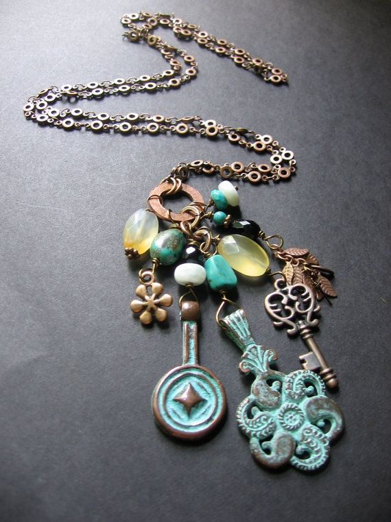 Long Boho Copper Charm Necklace - Turquoise, Carnelian, Onyx, Copper - Antiquity Necklace. $57.00, via Etsy.