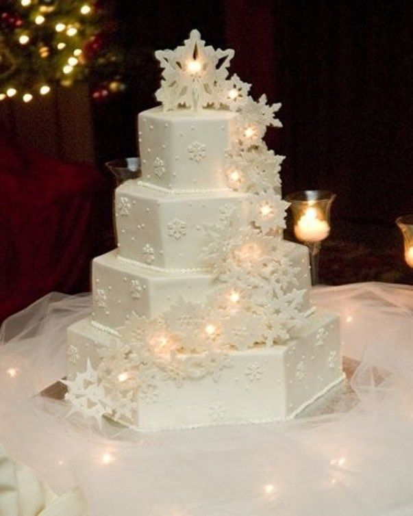 Winter Wedding Cakes With Lights And Frost Ice Ornaments