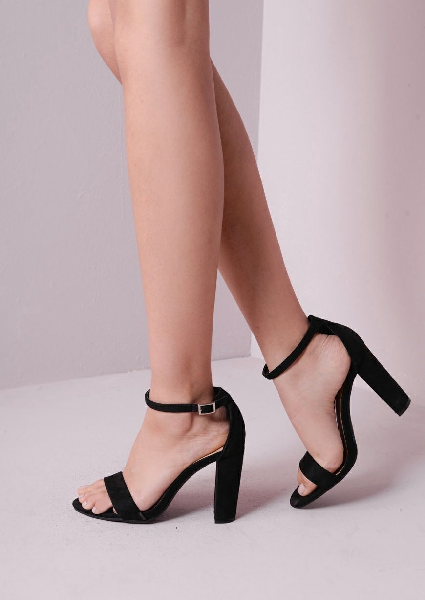 75a4afa5b99 Pointed Strappy Chunky Heeled Sandals Black