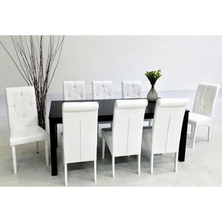 @Overstock.com   Warehouse Of Tiffany Dita White 9 Piece Dining Set    Modernize Your Dining Area With This Captivating Dita Table And Chair Set  By Warehouse ...