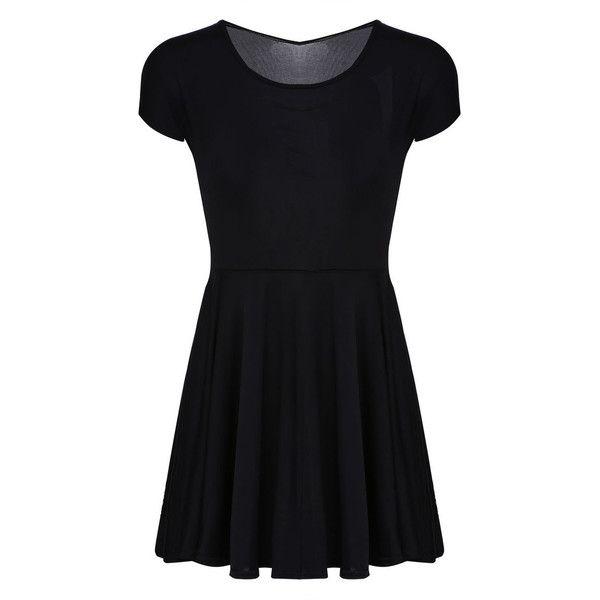 Skater Dress in Black (110 DKK) ❤ liked on Polyvore featuring dresses, vestidos, black and skater dress