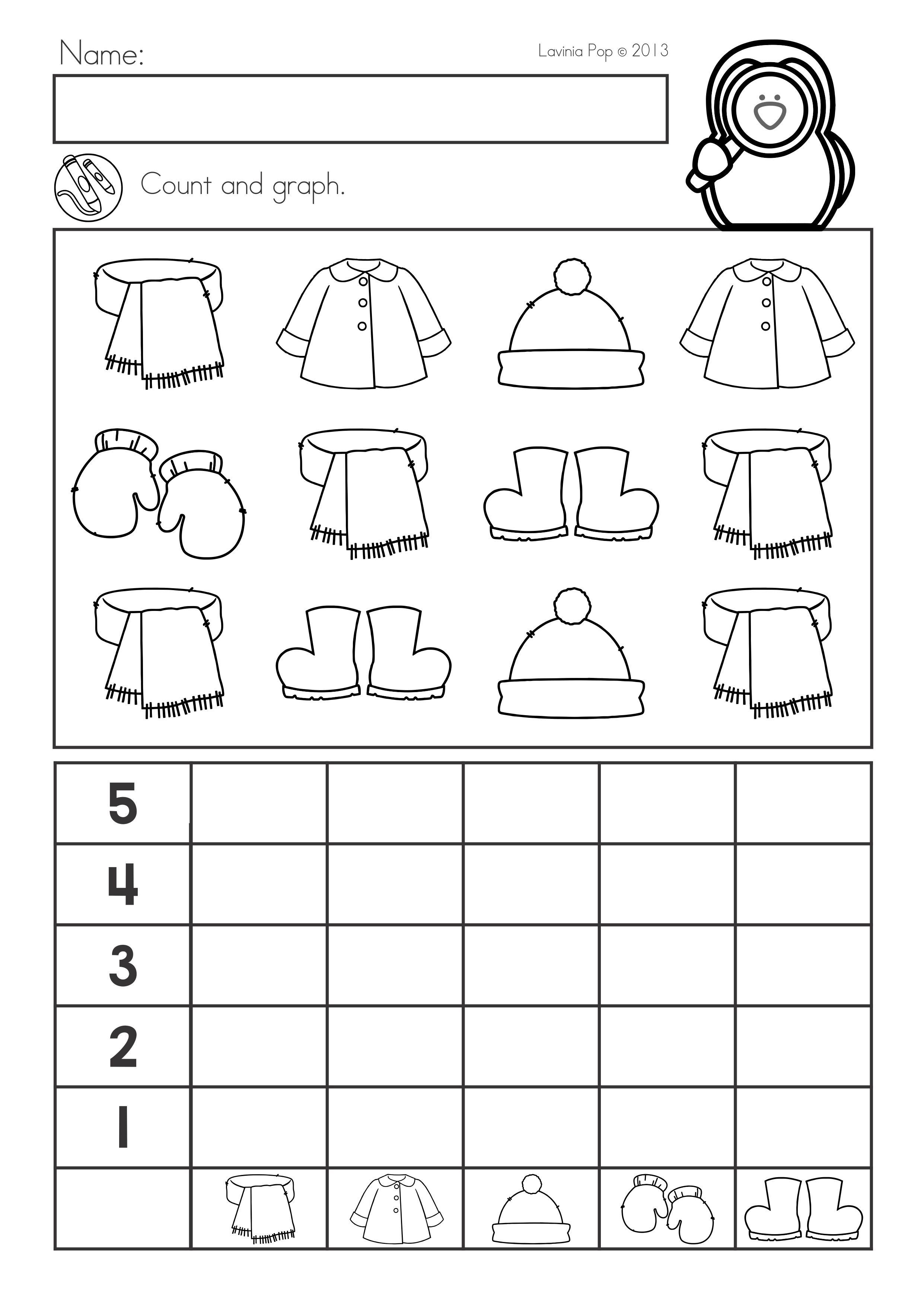 Winter Math Worksheets Activities No Prep For Kindergarten Count And Graph Winter Math Worksheets Winter Math Kindergarten Math Activities