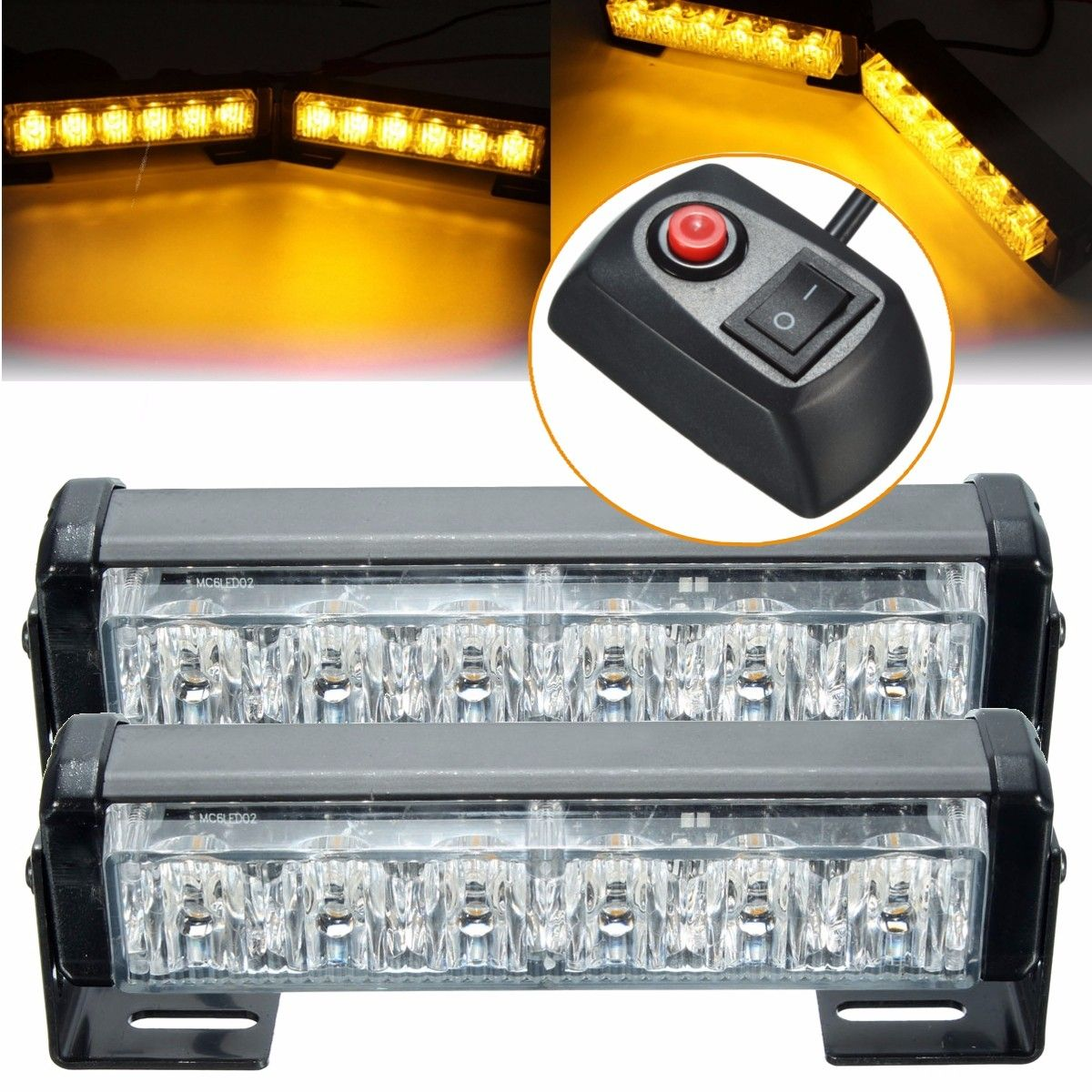 Luz Led Intermitente 6 Pares De Led Coche ámbar Intermitente De Advertencia Luz